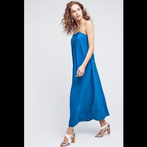 Anthro HD in Paris Blue Silk Maxi Dress Gold Strap